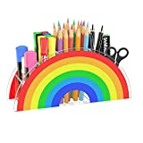 FEMELI Acrylic Pen Holder,Cute Rainbow Pencil Holder for Kids Girl,Desk Organizer for School Art Supplies