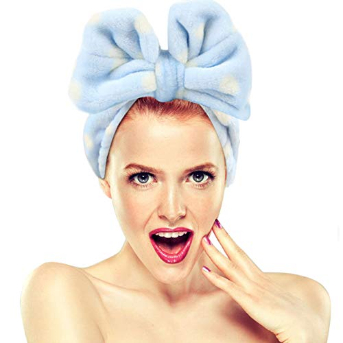 Bandeaux de maquillage Hairizone pour le visage, douche, masque de spa, doux et mignon, grand noeud, pour femmes et filles, bleue