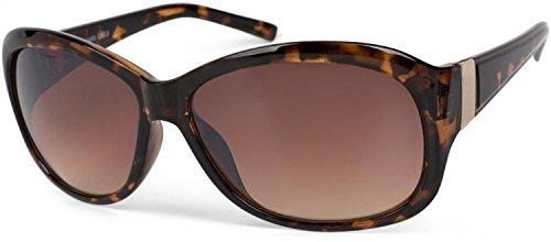 styleBREAKER Sonnenbrille in Schmetterlingsform mit Verzierung aus Metall am Bügel, Verlaufsglas, Damen 09020062, Farbe:Gestell Braun Demi/Glas Braun