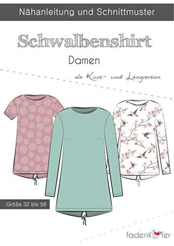 Stoffe Werning Schnittmuster Fadenkäfer Schwalbenshirt Damen Gr.32-58 Papierschnittmuster