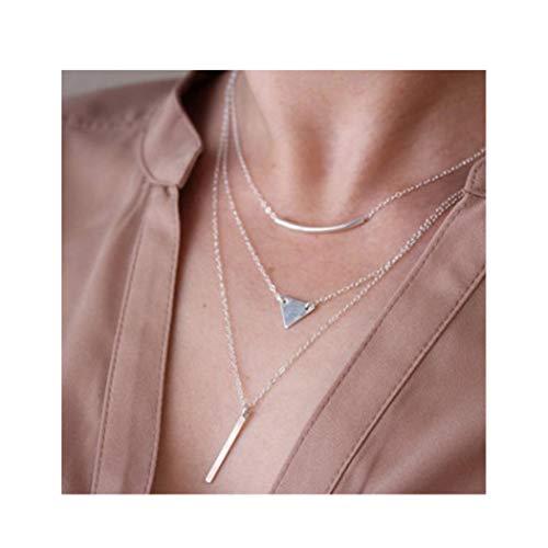 IYOU Fashion Gelaagde Kettingen Zilveren Bar driehoek Hanger Kettingbuis Gevormde Ketting Sieraden voor Vrouwen en Meisjes