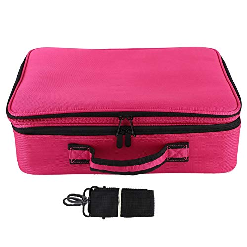 Organisateur de Maquillage en Tissu Oxford imperméable, Sac de cosmétique Portable 3 Couches Organisateur(Upgraded Three-Layer Tattoo kit-Rose Red)