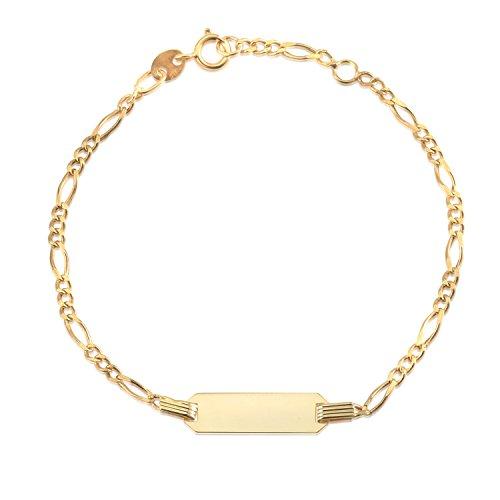"14K Yellow Gold Figaro Chain ID Bracelet Girls Boys 6"" Italy"