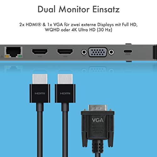 ICY BOX USB-C Docking Station für Windows, 2x HDMI, LAN, Power Delivery, USB 3.0 Hub, Kartenleser, Audio, Aluminium, Grau