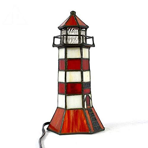 FYBAO Kreative Leuchtturm Form Tiffany Tischlampe Glasmalerei Tierschreibtischlampe Innennachttisch kleine Nachtlampe,Td928106