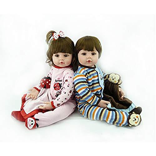 Danping 60CM Weiche Silikon Realistische Reborn Kleinkind Babypuppe, Real Look Life Like Newborn Dolls Jungen Und Mädchen Zwillinge Spielzeug (Zwillinge)