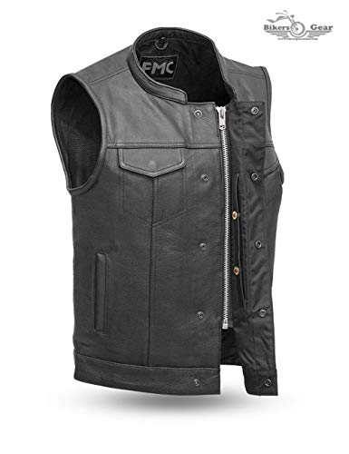 MEN'S MOTORCYCLE SON OF ANARCHY LEATHER VEST W/DUAL CONCEALED CARRY POCKETS (3XL)