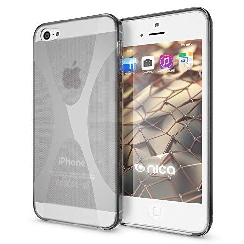 NALIA Custodia compatibile con Apple i SE 5 5S Plus, Cover Protezione Ultra-Slim Case Resistente Protettiva Cellulare Silicone Gel, Gomma Morbido Bumper Copertura Sottile - X-Line Grigio