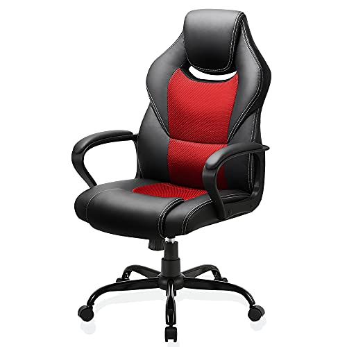 BASETBL Office Desk Chair Racing Style Home Ergonomic Executive Swivel Gaming Computer Chair, Lumbar Support High Back PU Leather Adjustable Height Comfortable Chair Red