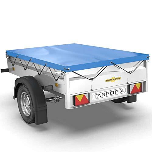 Tarpofix® Anhängerplane Flachplane 211 x 116 x 8 cm - randverstärkte Anhänger Plane (blau) - langlebige Anhänger Abdeckplane - Ideal passend für Humbaur Steely & Startrailer PKW Anhänger 750 kg