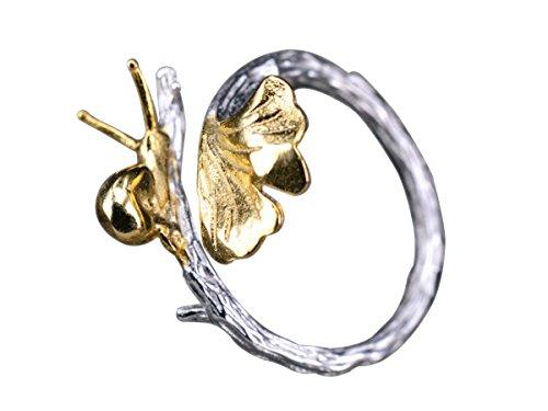 NicoWerk Silberring Schnecke Ginkgoblatt Golden Vergoldet Natur Ring Silber 925 Verstellbar Damenringe Damen Schmuck Sterling SRI259
