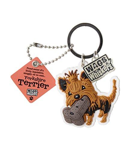 Wags et moustaches Yorkshire Terrier Porte-clés avec porte-clés/porte-clés (886767110820)