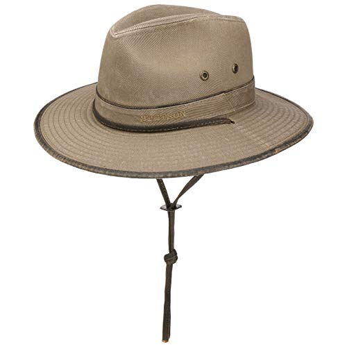 Stetson Sombrero de Algodón Tarnell Traveller Hombre - Tela Verano con Forro, Tira para el mentón Primavera/Verano