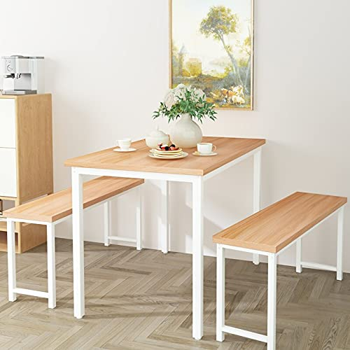 AWQM 3-Piece Dining Table & Chair Set for 4 People, Metal Frame and MDF Board Furniture with Two Benches, Perfect for Home, Kitchen, Dining Room, Breakfast Nook, Cafeteria and Farm House