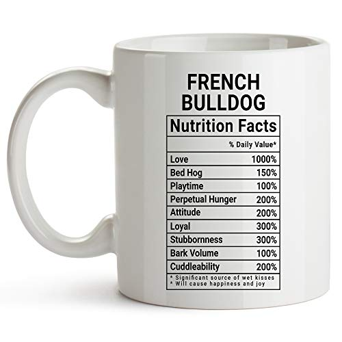 YouNique Designs French Bulldog Mug, 11 Ounces, White, Nutrition Facts Coffee Mug, French Bulldog Gifts for Women