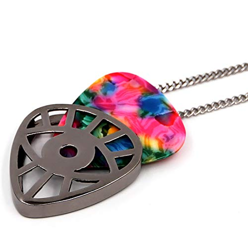 PICKRING Eye Shaped Guitar Pick Holder Necklace for Guitarists/guitar picks keeper storage pendant necklace stainless steel music lovers musicians gifts (Metal Black)