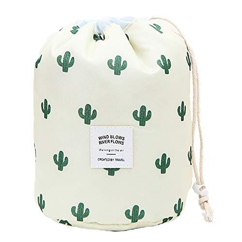 Multifunktionale leichte Kulturbeutel, Reise-Kosmetiktasche für Frauen, wasserdicht, Make-up-Organizer mit stabilem Haken, tragbar, kompakt… (Groß, Beiger Kaktus)