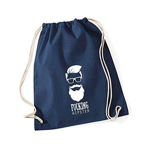 Baumwoll Turnbeutel mit Spruch Motiv Fucking Hipster Hipster Sport Jute Tasche Gym Bag French Navy (Druck weiß)