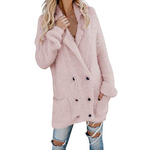 Xmiral Damen Mäntel Einfarbig Stricken Flauschig Plüsch Knopf Strickjacke mit Kapuze Jacke Outwear Winter Mode Parka Strickwaren(Rosa,S)
