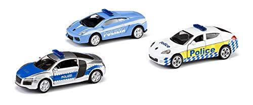 SIKU 6302, Geschenkset - Polizei, Metall/Kunststoff, Multicolor, Spielkombination, 3 Polizei-Fahrzeuge