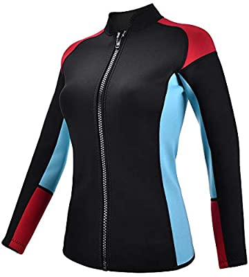 REALON Wetsuits Top Jacket Vest Mens Women 2mm Neoprene Long Sleeve/3mm Sleeveless Shirt Front Zip Sports XSPAN for Scuba Diving Surf Swimming Snorkel Suit (2mm Women/Red, XXL)