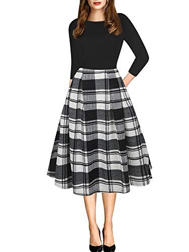 oxiuly Women's Vintage Classic Plaid Patchwork Pockets 3/4 Sleeve Work Tea Swing Casual Dress OX165 (2XL, Black Plaid P7)