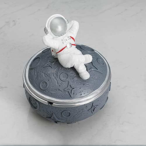 HUANGDAN Astronauta Cenicero de Astronauta Sellado con Tapa Anti Fly Ash Adornos de Personalidad Creativa Sala de Estar Simple Cenicero del hogar Regalos de inauguración,Gris,B