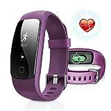 DBFIT Fitness Tracker Cardio IP67, Braccialetto Fitness Impermeabile Orologio Cardiofrequenzimetro Fitness Activity Tracker (Porpora)