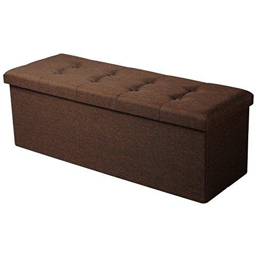 WOLTU Taburete con Almacenamiento Compartimentos Plegables Caja de Almacenamiento, Extraíble Tapa, Asiento de Lino tapizado, 110x37,5x38 CM, Marrón, SH11br-1