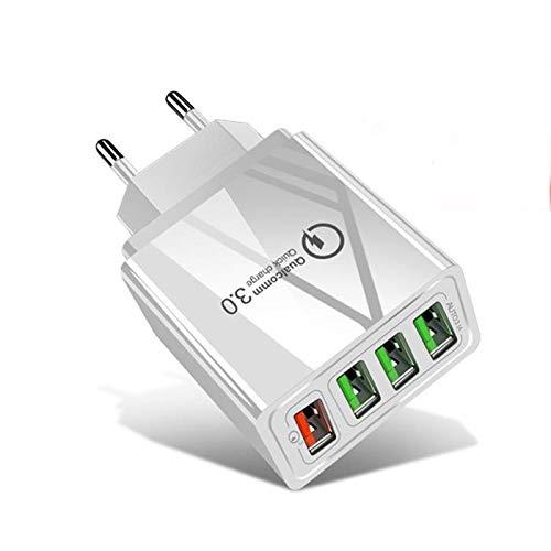 Cargador USB múltiple carga rápida Quick Charge 3.0, cargador USB múltiple de pared compatible con iPhone, Samsung Galaxy, Huawei, Xiaomi, Tablet, auriculares inalámbricos, Smartwatch (blanco)