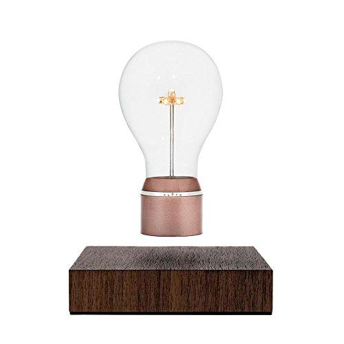 FLYTE Buckminster - Original, Echte Schwebende LED Glühbirne Lampe (Basis aus Walnussholz, Glühbirnenkappe aus Kupfer) [Energieklasse B]