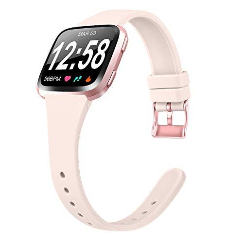 Amzpas Armband Für Fitbit Versa Armband/Fitbit Versa 2 Armband/Fitbit Versa Lite Armband, Weiches Silikon Schmal Schlank Sport Ersatz Armband für Fitbit Versa