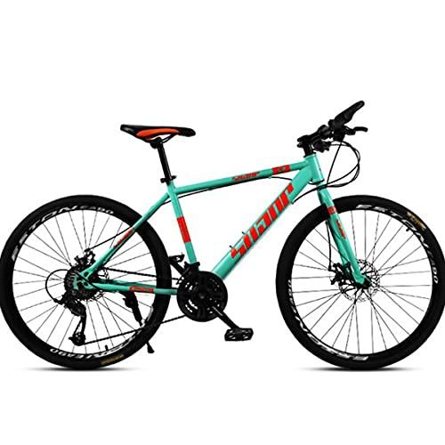 PBTRM Bicicleta Carretera 30 Velocidades 26 Pulgadas, Bicicleta Acero Carbono para Hombres Y Mujeres, Freno Disco Bicicleta Montaña,Verde