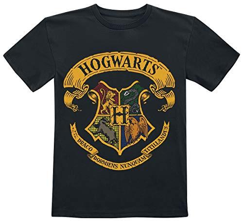 HARRY POTTER Hogwarts Crest Unisex T-Shirt Nero 128 100% Cotone