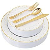 """125 Pieces Gold Disposable Plates, Elegant Gold Plastic Silverware With Premium Quality, Includes: 25 Dinner Plates 10.25"""", 25 Salad Plates 7.5"""", 25 Knives, 25 Forks, 25 Spoons"""