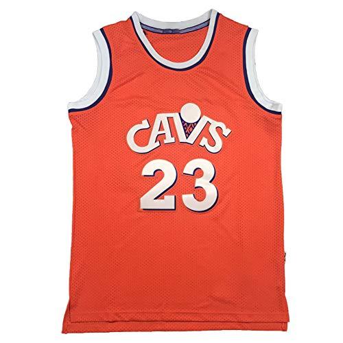 CLKI #23 Cavaliers James - Camiseta de manga corta para hombre con bordado retro, sin mangas, de malla transpirable para baloncesto (S-2XL) naranja-M