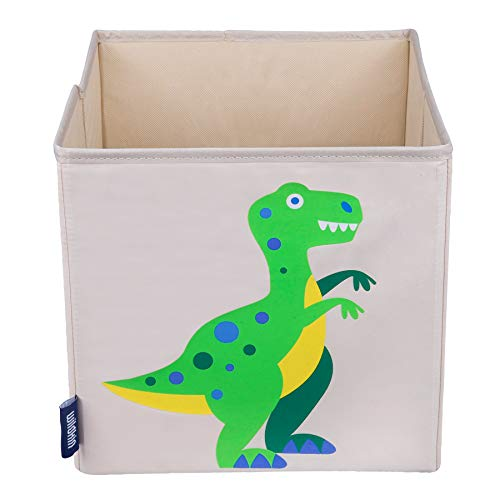 Wildkin 10 Inch Kids Storage Cube for Boys & Girls, Toy Storage Features Front Pull Tab & Cardboard Insert, Cube Storage Helps Kids Supplies Organized in Bedroom or Playroom, BPA-free, (Dinosaur Land)