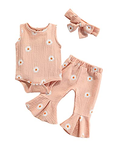 Juego de 3 piezas de ropa de algodón y lino con estampado de margaritas + pantalones acampanados + diadema de verano