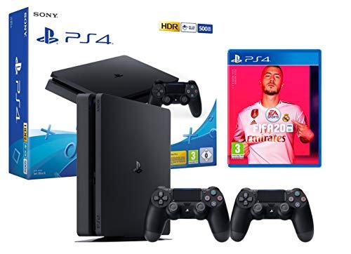 PS4 Slim 500Go Console Playstation 4 Noir + FIFA 20 + 2 manettes Dualshock 4