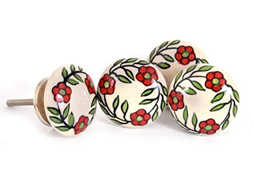 Craft Trade Ceramic Door Knobs for Dresser Drawers Cabinet Designer Hand Painted Wardrobes Cupboard Doors Home Office Kitchen Bedroom (Pack of 4)