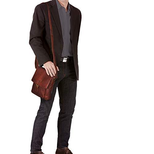 STILORD 'Arne' Leder Messenger Bag klein Umhängetasche 8,4 Zoll Tablet Hülle Schultertasche Tablettasche weiches Rindsleder, Farbe:Siena - braun
