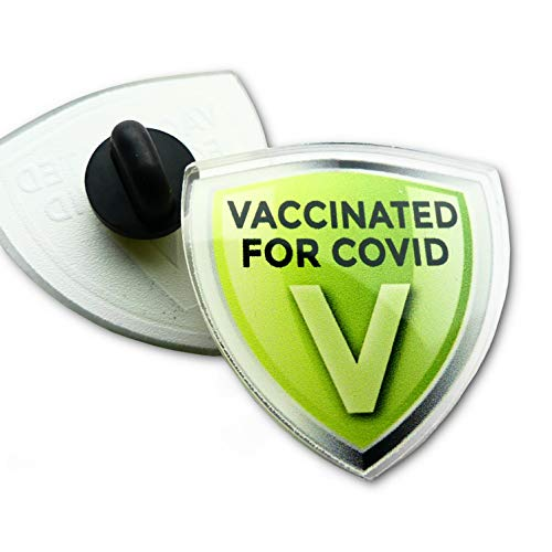 Crafted-Brand Vaccinated for COVID Acrylic Lapel Pin – Green Shield Design Clearly Shows You've Had The COVID-19 Coronavirus Vaccine