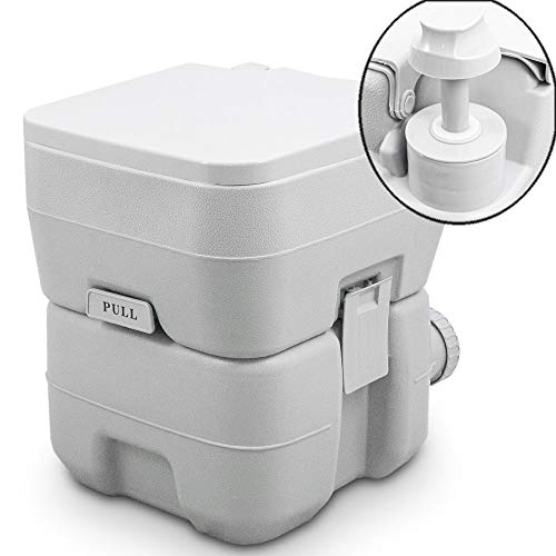 BITUXX Tragbare Campingtoilette Reise WC Mobile Chemietoilette Campingklo 20L mit Kolbenpumpe und Doppelspühlung