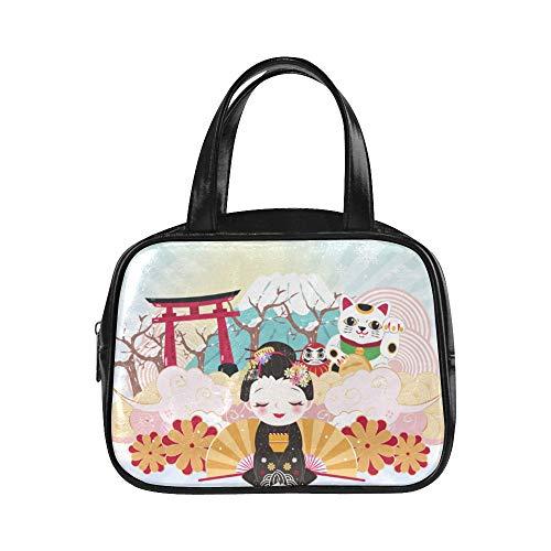 Lady Handtasche Nette Cartoon Geisha Mit Japan Reise Top Reißverschluss Einkaufstasche Mode Arbeitstasche Pu Leder Top Griff Umhängetasche Klassische Modetaschen