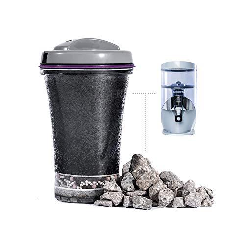 Nikken Waterfall 1 cartucho de filtro (13845) + 1 piedras minerales (13846) - reemplazo avanzado de filtro de agua para sistema de purificador de gravedad (1384)