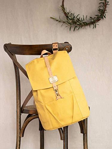 "Laptop Backpack, Ocher Yellow 15"" laptop rucksack, Notebook backpack for a student, Unisex Casual laptop knapsack, Yellow ochre knapsack"