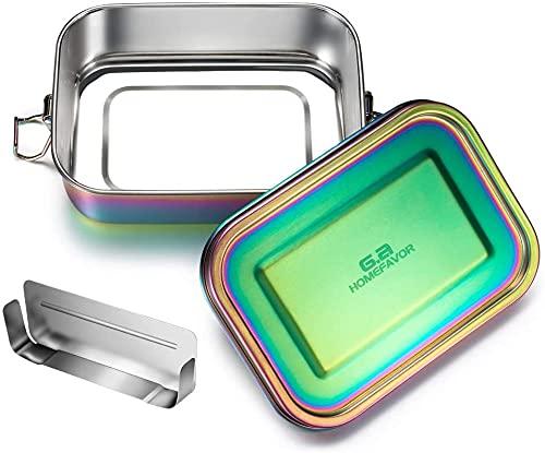 Calm Cozy Edelstahl Brotdose 800 ml Auslaufsichere Metall Lunchbox Bento Box mit Herausnehmbarer Trennwand Vesperdose Brotbüchse Brotzeitbox für Kinder Erwachsene, Regenbogenfarbe