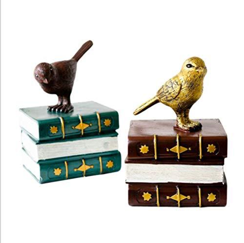 MYMAO Retro Resin Ambachten voor Studie Kamer Woonkamer Tafel Decoratie Vogelboek Boeken 2 STKS