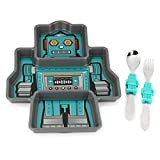 KidsFunwares Robot Me Time Meal Set with Portion Control Divided Plate, and Fork