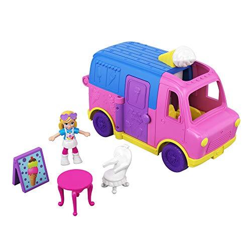 Polly Pocket Pollyville Le Camion de Glaces, table, chaise, mini-figurine Polly, accessoires et autocollants, jouet enfant, GGC40